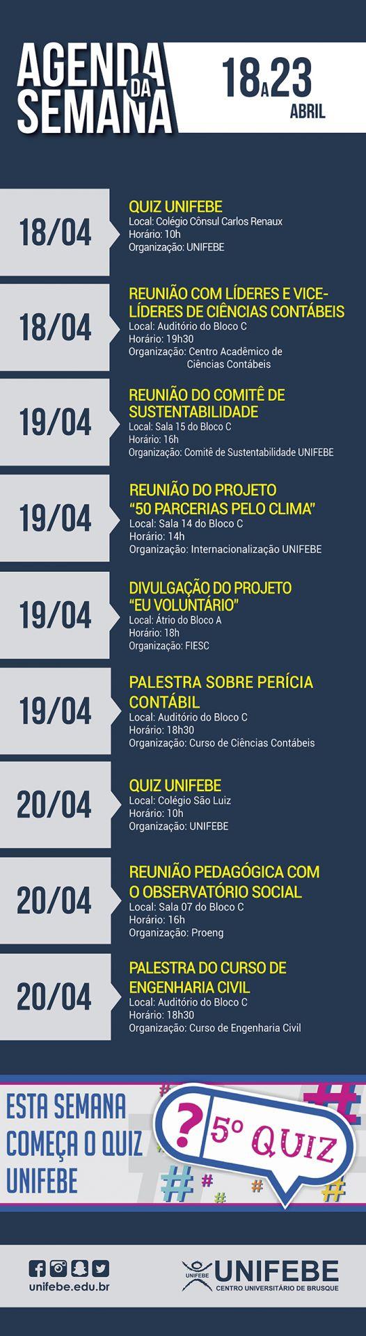 Agenda da Semana – De 18 a 23 de abril