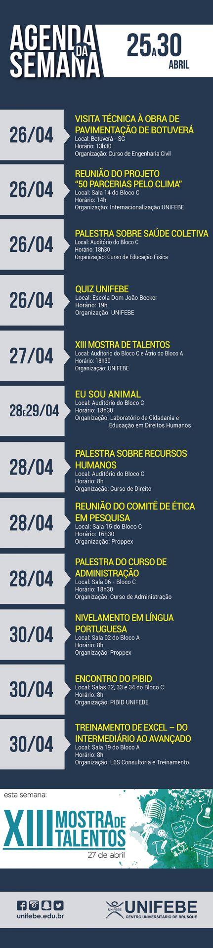 Agenda da Semana – De 25 a 30 de abril