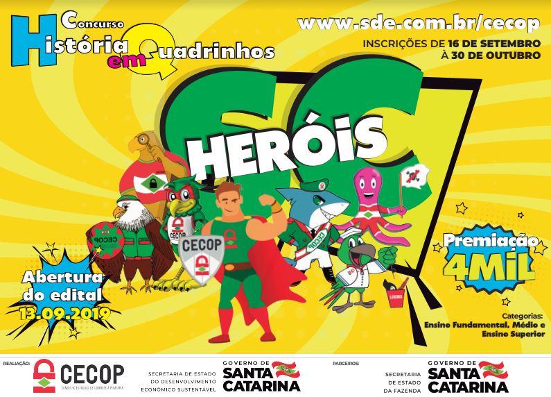 """Inscrições abertas para o concurso de histórias em quadrinhos """"Heróis SC"""""""