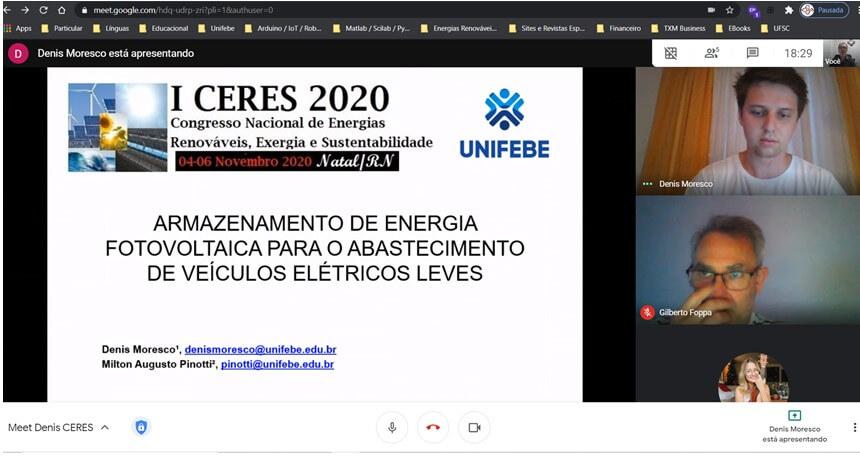 Pesquisa sobre o armazenamento de energia fotovoltaica é apresentada por acadêmico da UNIFEBE no Congresso Nacional de Energias Renováveis