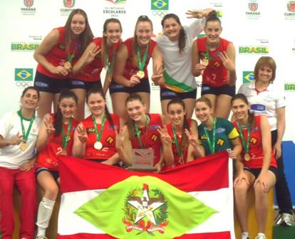 Equipe de vôlei conquista o tri nas Olimpíadas Escolares
